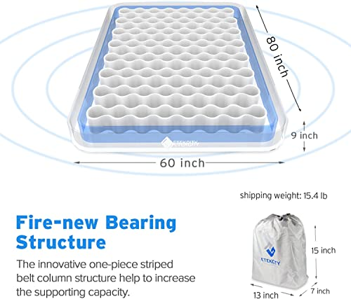 Etekcity Camping Air Mattress Inflatable Single High Airbed Blow up Bed Tent Mattress with Rechargeable Air Pump, Height 9 , Carry Bag