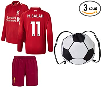 competitive price 62edd bc21a Euro Fanatics Liverpool Salah #11 Youth Soccer Jersey Home Long Sleeve Kit  Shorts Kids Gift Set