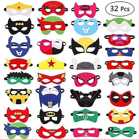 Harxin -  32 Piezas de máscaras de superhéroes para fiestas infantiles o cumpleaños - Gafas de superhéroes para cumpleaños.
