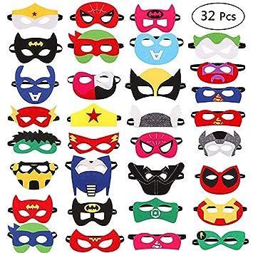 Harxin 32 Piezas Máscaras de Superhéroes Superhéroe Máscara de Fieltro Fiesta de Cumpleaños Favorece Niños Niños Niñas