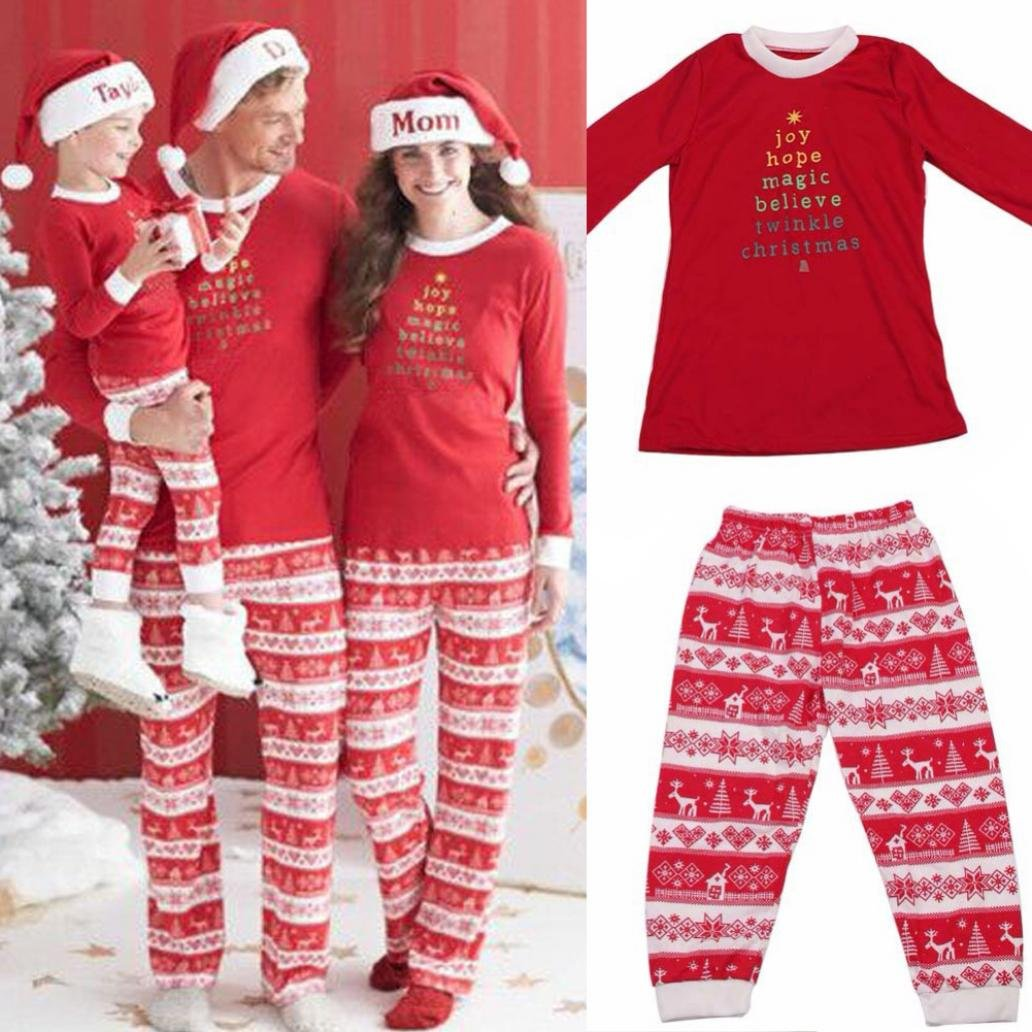 Good01 Family Christmas Matching Pajamas Sleepwear Men Women Kids Baby Top + Pants Set