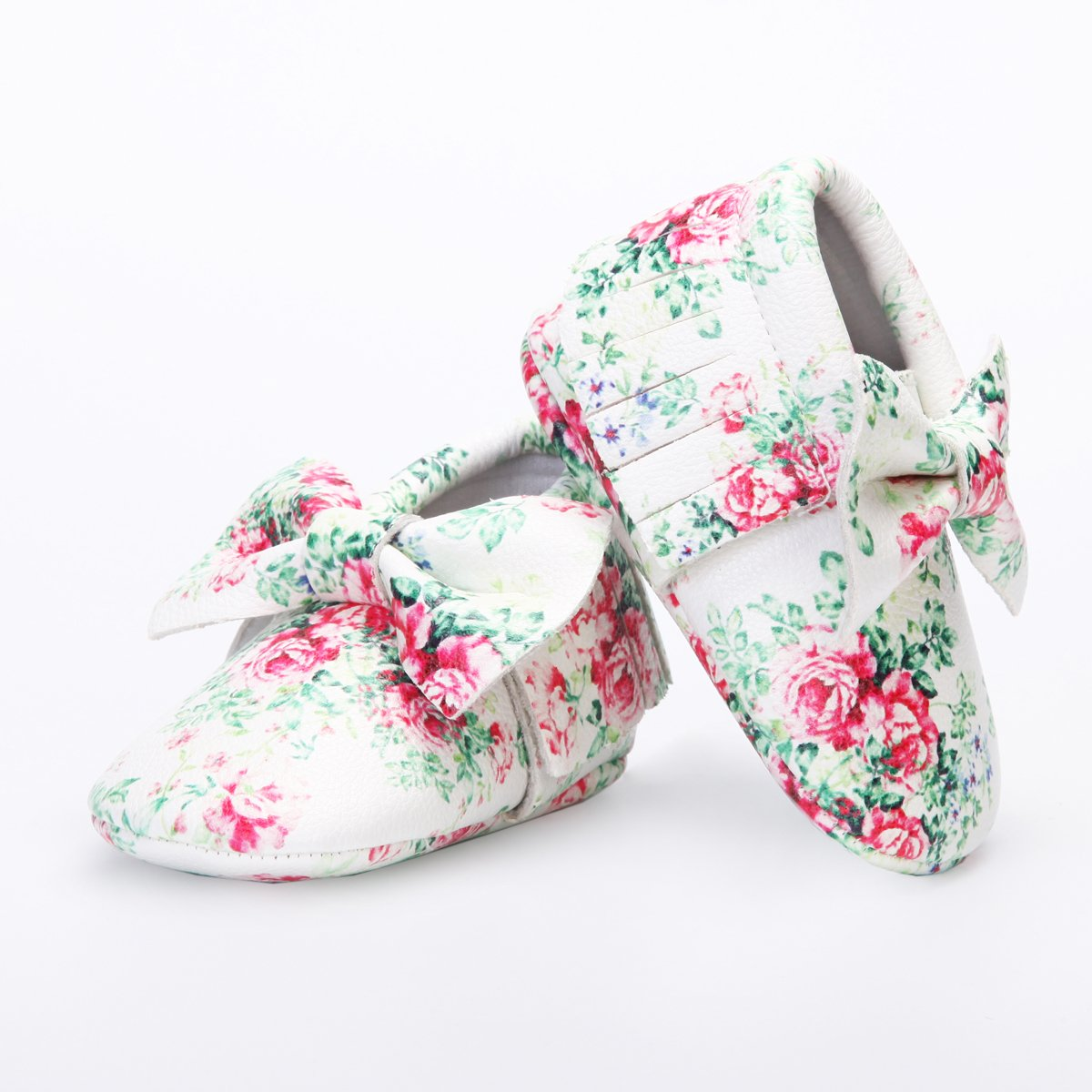 HONGTEYA Baby Moccasins with Rubber Sole/&Soft Sole Flower Print PU Leather Tassel Bow Girls Ballet Dress Shoes for Toddler