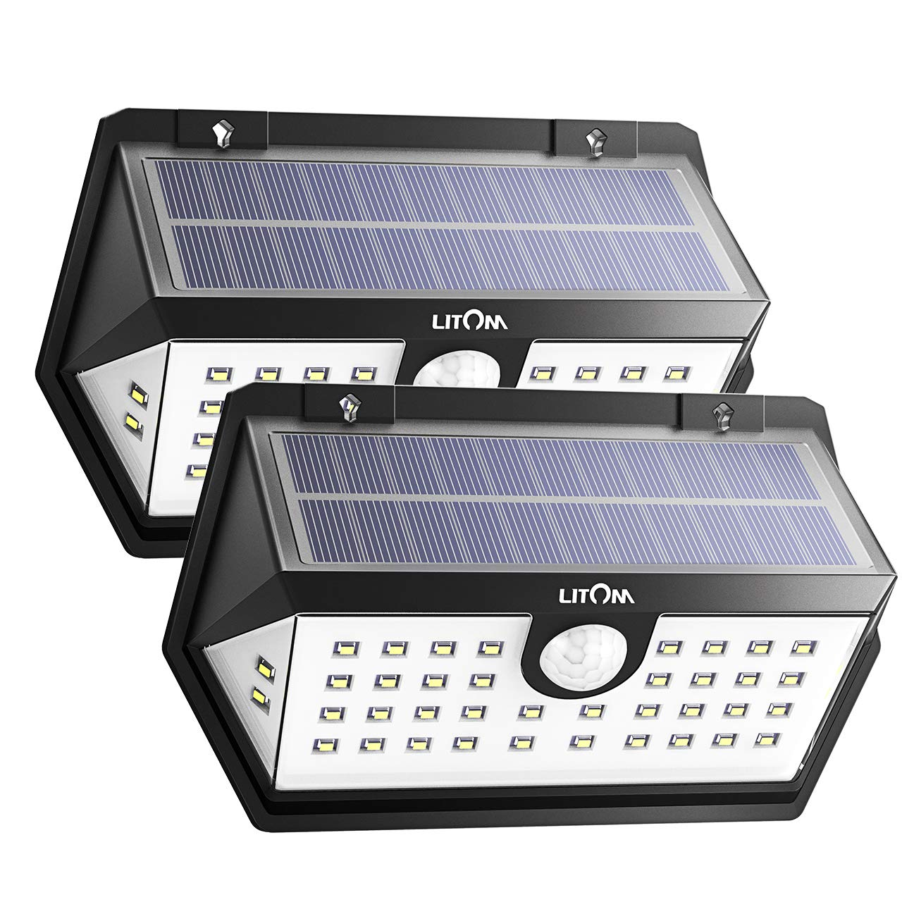 LITOM Solar Lights Outdoor, 40 LED Wireless Wide Angle Motion Sensor Light, IP65 Waterproof Security Solar Light, Three Working Modes for Front Door, Yard, Garage, Deck, Porch, Shed, Walkway (2 Pack)
