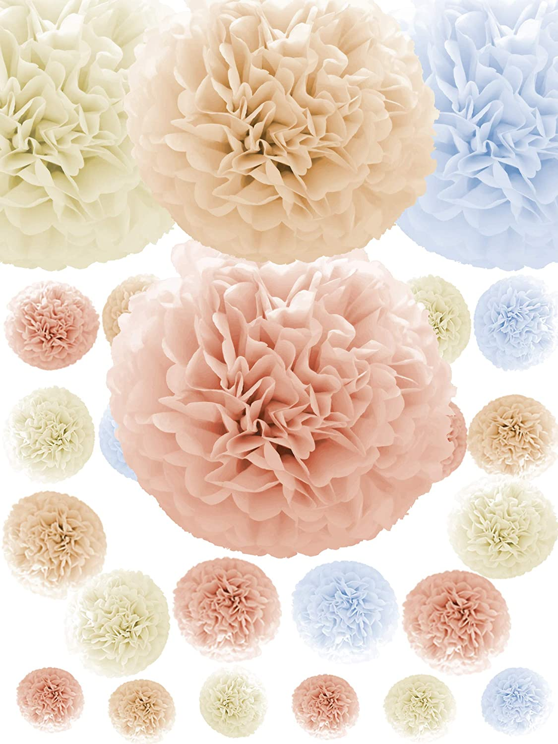 Natural Neutral Colors Tissue Paper Pom Poms [24 Pack - Sizes 14