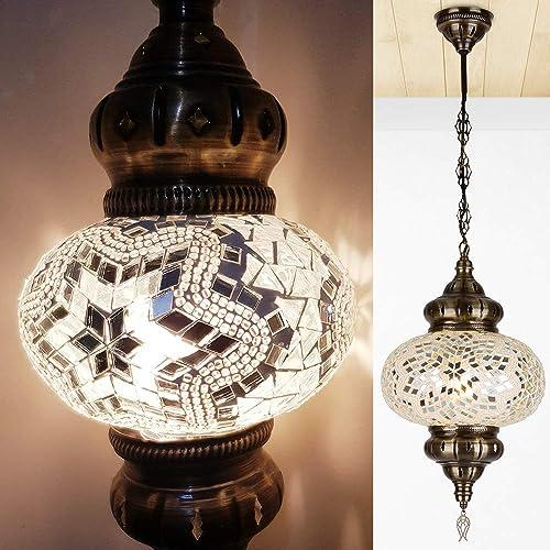 Turkish Moroccan Boho Mosaic Hanging Ceiling Lamp Light Pendant Multicolor Glass Globe Fixtures Bedroom Decor Decor3