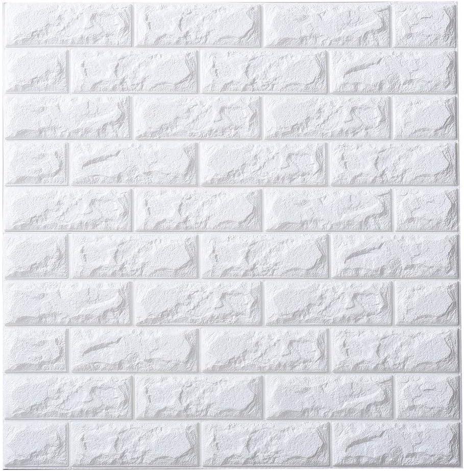 Amazon 50枚 3d 壁紙 レンガ 防音シート 防水 壁紙 断熱 Diyクッション シール シート立体 壁用 壁紙 はがせる タイルシール ウォールステッカー 北欧 白 壁用 タイル 60cm 60cm ウォールステッカー オンライン通販