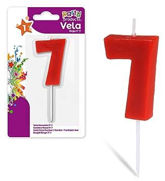 Party- Vela de cumpleaños numero 7, 5 x 3.5 cm, Color rojo ...