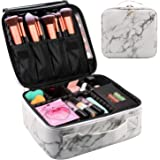 Travel Makeup Train Case Makeup Cosmetic Case Organizer Portable Artist Storage Bag 10.3'' with Adjustable Dividers for Cosmetics Makeup Brushes Toiletry Jewelry Digital Accessories (Marble)