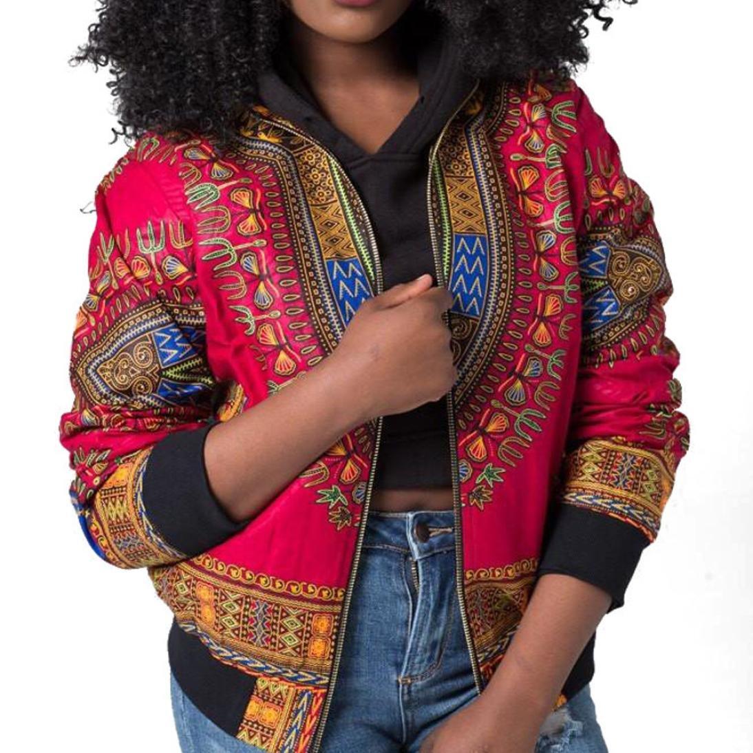 Women African Dashiki Long Sleeve Coat Biker Bomber Outwear Short Zip Up Jacket iQKA0706