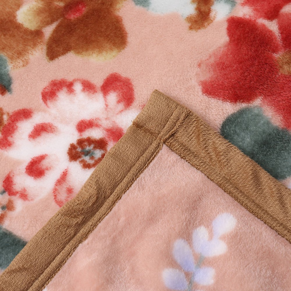 MYLUNE HOME Faux Fur Mink Fleece Blanket Throws with Flower Pattern on Chair Sofa and Bed Full/Queen/King Size