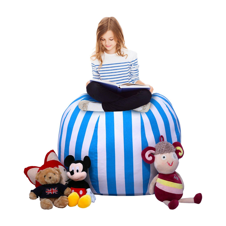 Yotree Stuffed Animal Storage Bean Bag Extra Large Sack Chair Kids Toy Organizer Premium Quality Cotton Canvas for Plush Toys, Towels, Clothes(Blue Stripes)