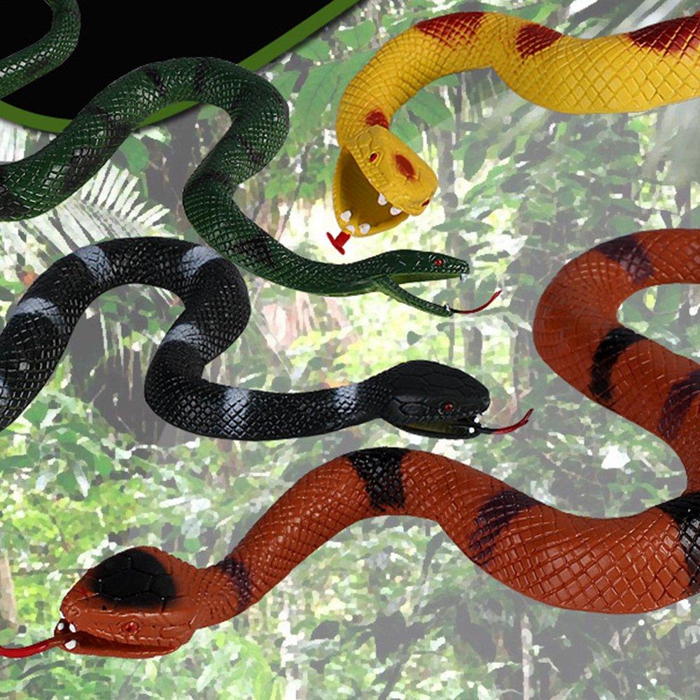 MUMULULU 4 PCS Realistic Rubber Snake Novelty Scare Toys for Garden Props Practical Joke by MUMULULU (Image #2)