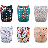 Babygoal Baby One Size Pocket Cloth Diapers Adjustable Reusable Nappy 6pcs+6 Inserts+One Wet Bag 6YDG08