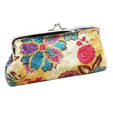 Sanwood Women s Coin Purse Flower Pouch Wallet Money Bag (Beige ... 337701cdbe