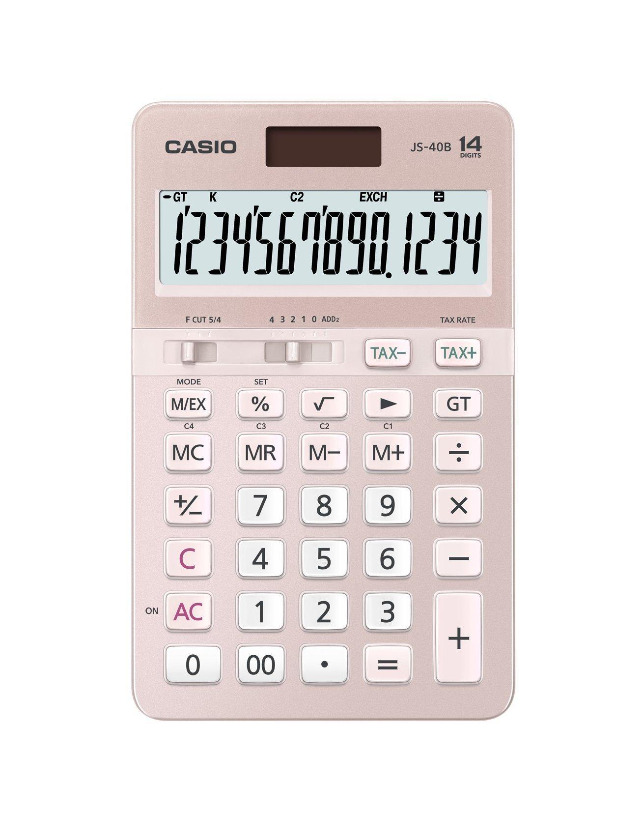 Casio JS-40B-PK 14-Digit Calculator GT Dual Power/Office Desktop Accounting Financial