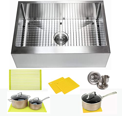 30 Inch Farmhouse Apron Front Stainless Steel Kitchen Sink Package 16 Gauge Flat Front Single Bowl Basin Complete Sink Pack Bonus Kitchen Accessories