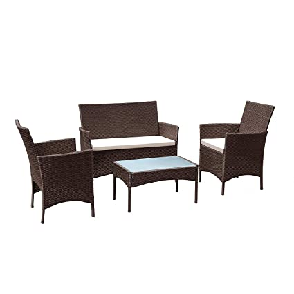 Lovely TANGKULA Patio Furniture Set 4 Piece Outdoor Pool Lawn Backyard Rattan  Wicker Cushioned Sofas Loveseat And