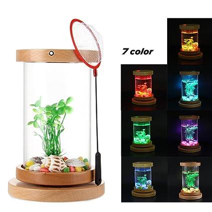 Teepao Betta - Kit de acuario de sobremesa con cilindro giratorio para acuario Betta con iluminación