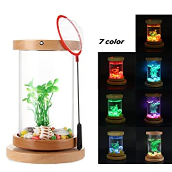 Teepao Betta - Kit de acuario de sobremesa con cilindro giratorio para acuario Betta con iluminación LED ...