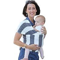 Portabebés NimNik Natural de Algodón - Fular Elástico Original | Portabebés Suave y Liviano de Múltiples Posiciones para Recién Nacidos e Infantes | Gris