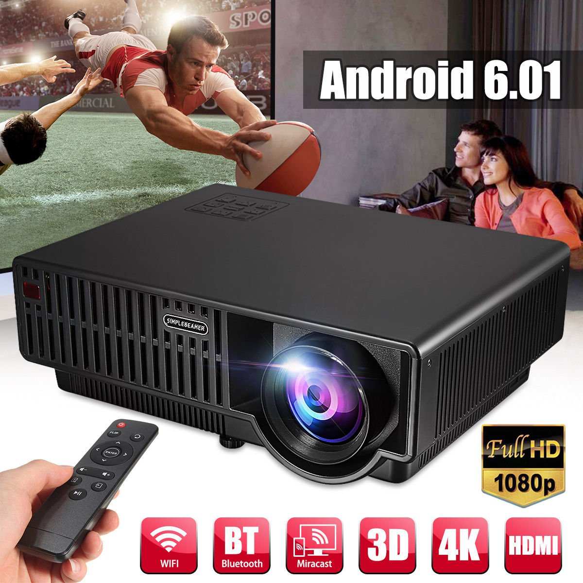 FUT(エフュ ト) 3500ルーメン 3D LED プロジェクター 4K アンドロイド6.0 wifi HD対応 ホームシアター HD ビデオ パソコン/スマホ/タブレット/ゲーム 機接続可可能 ホームプロジェクター ブラック B07CZHLJBQ ブラック