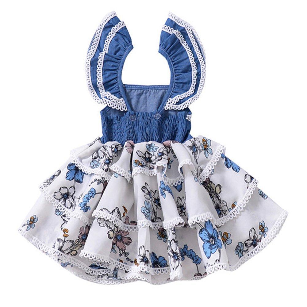 b338ba107f0 Amazon.com  YOHA Baby Girls Denim Soft Jumper Dress Suspender Skirts  Pinafore Tutu Dress  Clothing