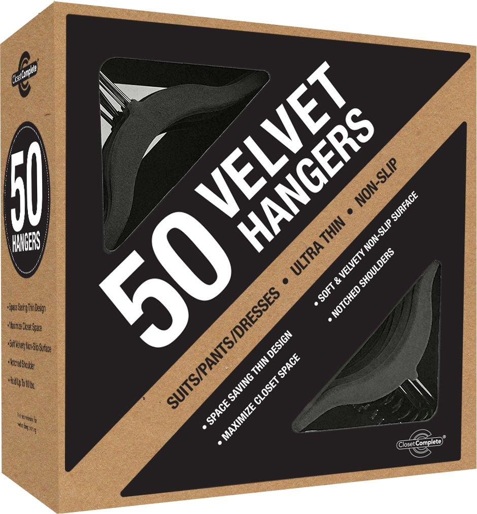 Closet Complete Premium True Heavyweight Velvet Hangers, 50, Black