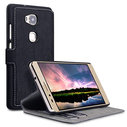 TERRAPIN, Compatible with Huawei Honor 5X Case, Slim Fit Leather Wallet  Flip Cover with Stand - Black