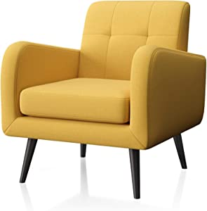 JustRoomy Upholstered Mid-Century Modern Accent Chair Comfortable Fabric Armchair Bedroom Chair Living Room Chair with Arms & Black Wooden Tapered Leg, Yellow