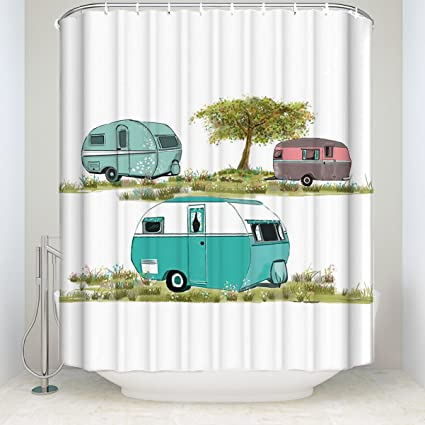 Retro Camping Shower Curtain,vintage Travel Trailer Decor,Bathroom Decor  Sets With Hooks Polyester
