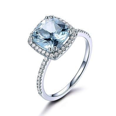 Blue Aquamarine Engagement Ring Cushion Cut 14k White Gold Diamond