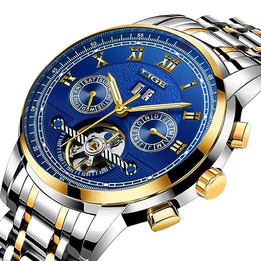 LIGE Impermeable Analógico Automático Relojes Mecánicos Hombres Acero Inoxidable Esqueleto Tourbillon Oro Reloj de Pulsera: Amazon.es: Relojes