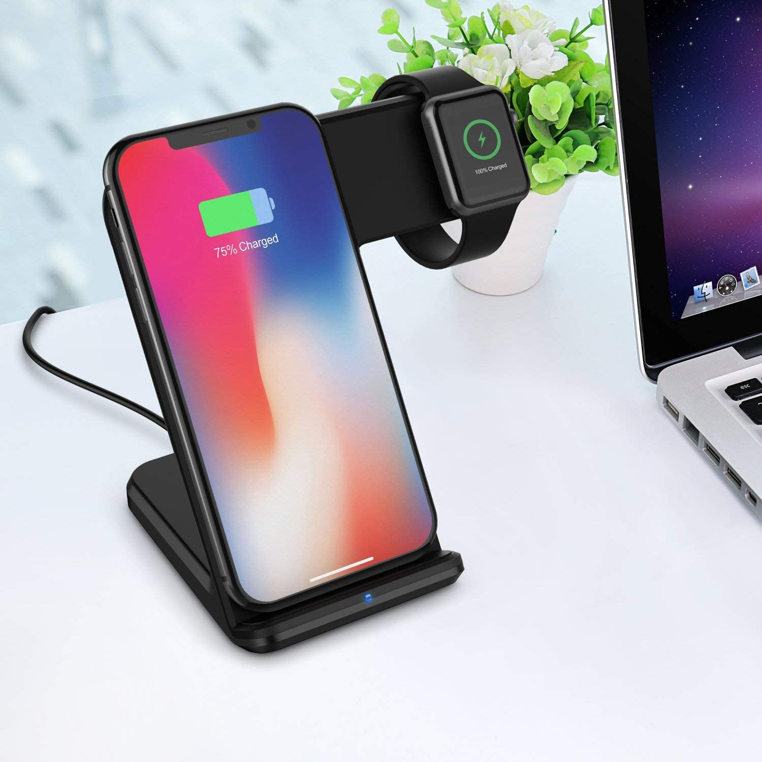 Black MQOUNY Wireless Charger,2 in1 in 1 Wireless Charger Stand,Charging Station Compatible with iWatch Series 5//4//3//2//1,Fast Wireless Charger Compatible with iPhone 8//X//XR,Samsung S10 All Qi Phones