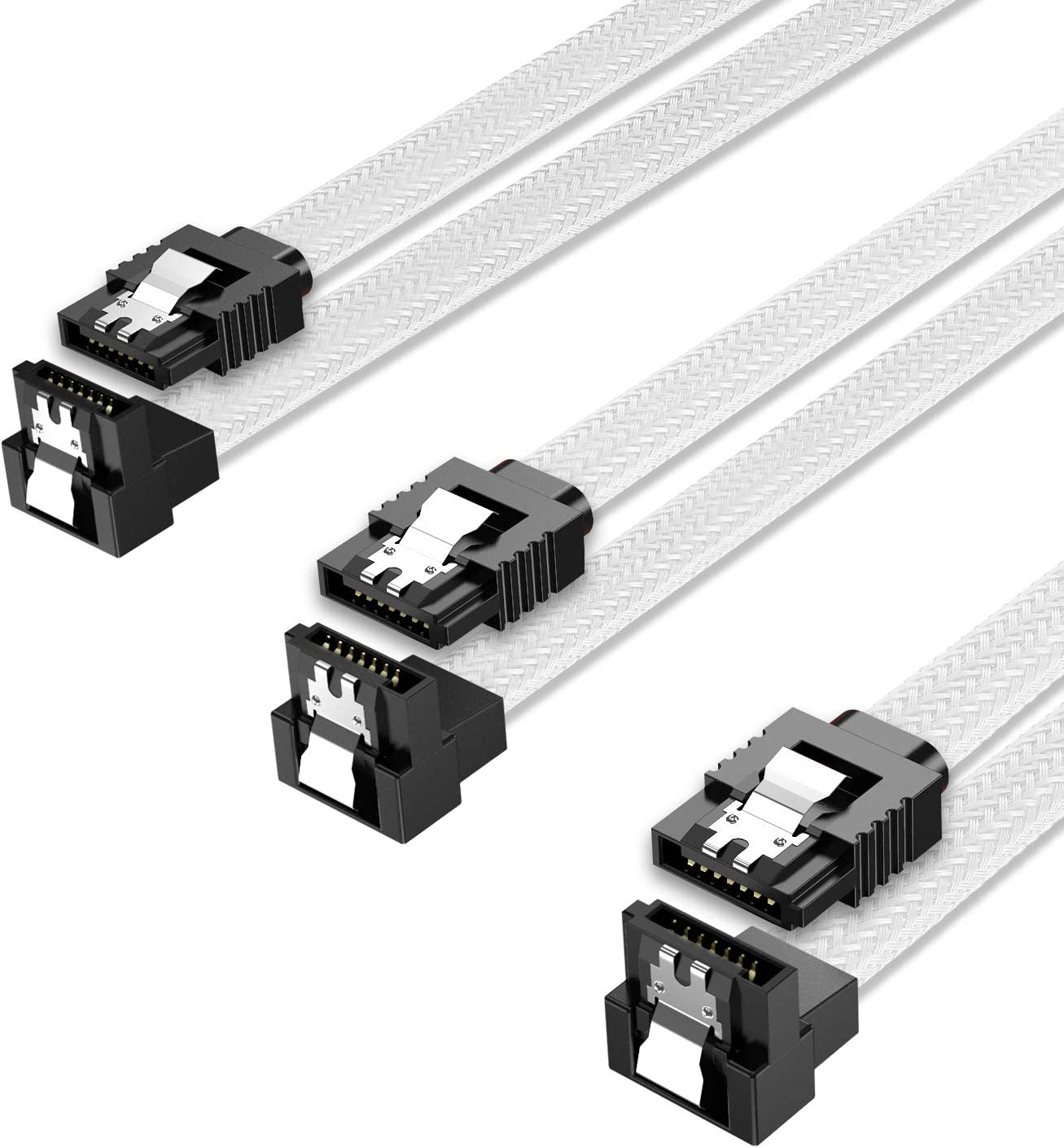 QIVYNSRY 3PACK SATA Cable III 3 Pack 90 Degree Straight to Right Angle 6Gbps HDD SDD SATA Data Cable with Locking Latch 50cm 18 Inch for SATA HDD, SSD, CD Driver, CD Writer, White