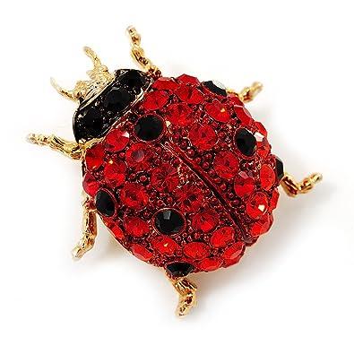 Avalaya Red Diamante Ladybug Brooch (Gold Tone Metal)   30mm Length