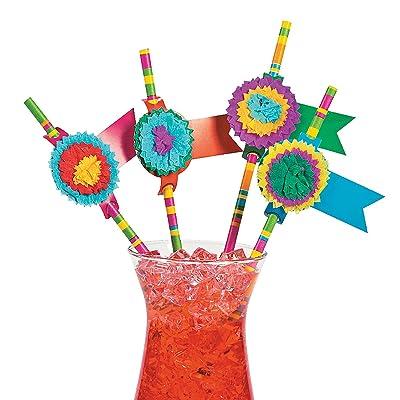 Fun Express - Fiesta Party Paper Straws (2dz) for Cinco de Mayo - Party Supplies - Drinkware - Straws - Cinco de Mayo - 24 Pieces: Kitchen & Dining