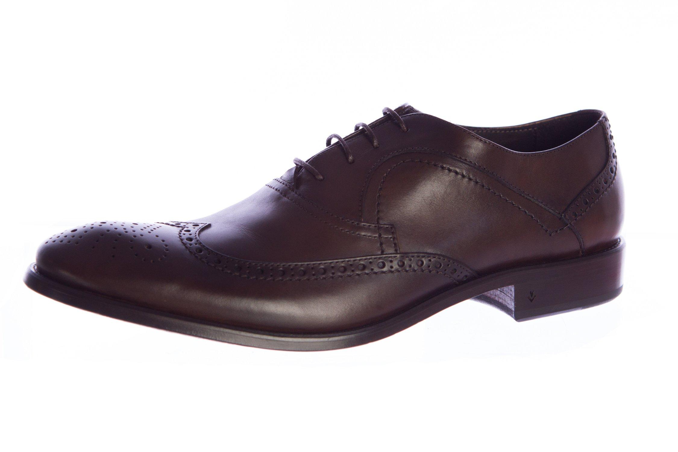 John Varvatos Men's Leather Richards Wingtip Oxfords 11.5 Espresso