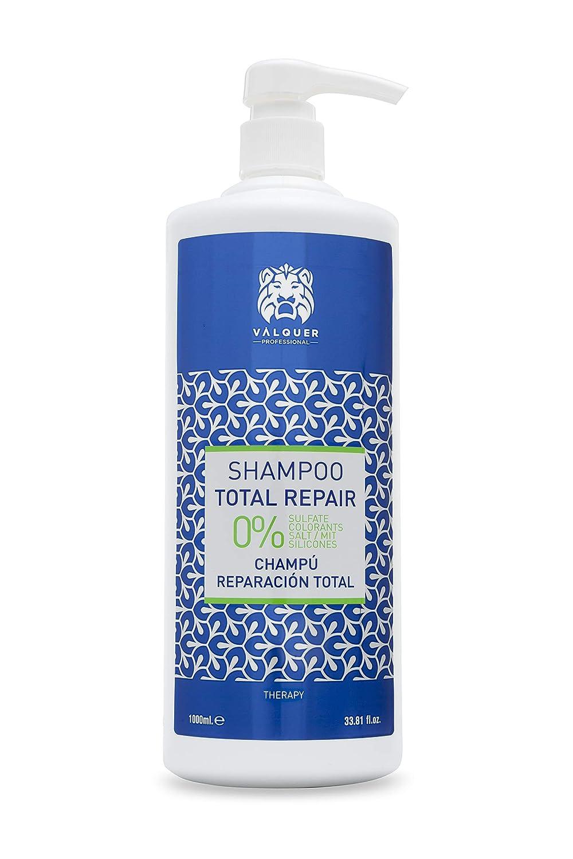 Válquer Profesional Champú Total Repair Zero % sin sal, sin sulfatos, sin parabenos y sin Siliconas. Cabellos dañados y secos - 1000 ml