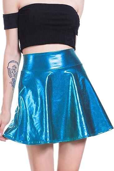 Falda Brillante Acampanada Plisada Línea A Círculo Skater Faldas ...