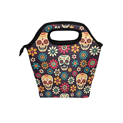 Saobao Insulated Lunch Tote bag Day Of The Dead Handbag lunchbox Food Container Gourmet Tote Cooler warm Pouch For School work Office Travel Outdoor: Kitchen & Dining