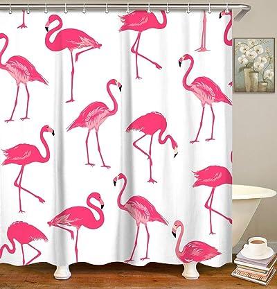 LIVILAN Fabric Flamingo Shower Curtain Set