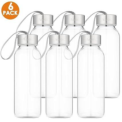 Amazon.com: Botella de agua de vidrio para zumo, jugo de ...