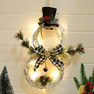 KINNJAS Christmas Wreath - Christmas Decoration with Light, Hand Made Snowman Christmas Garland, Great Christmas Decoration for Front Door, Fire Place and Walls …