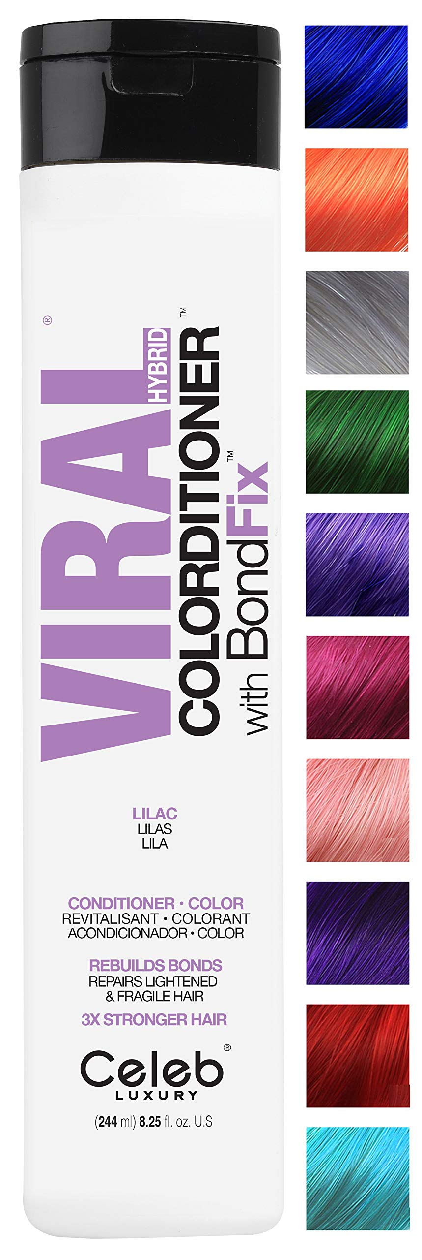 Celeb Luxury Viral Colorditioner: Lilac Color Depositing Conditioner, BondFix Bond Rebuilder, 10 Vivid and Pastel Colors, Stops Fade, Conditioner + Vivid Color, Cruelty-Free, 100% Vegan by CELEB LUXURY