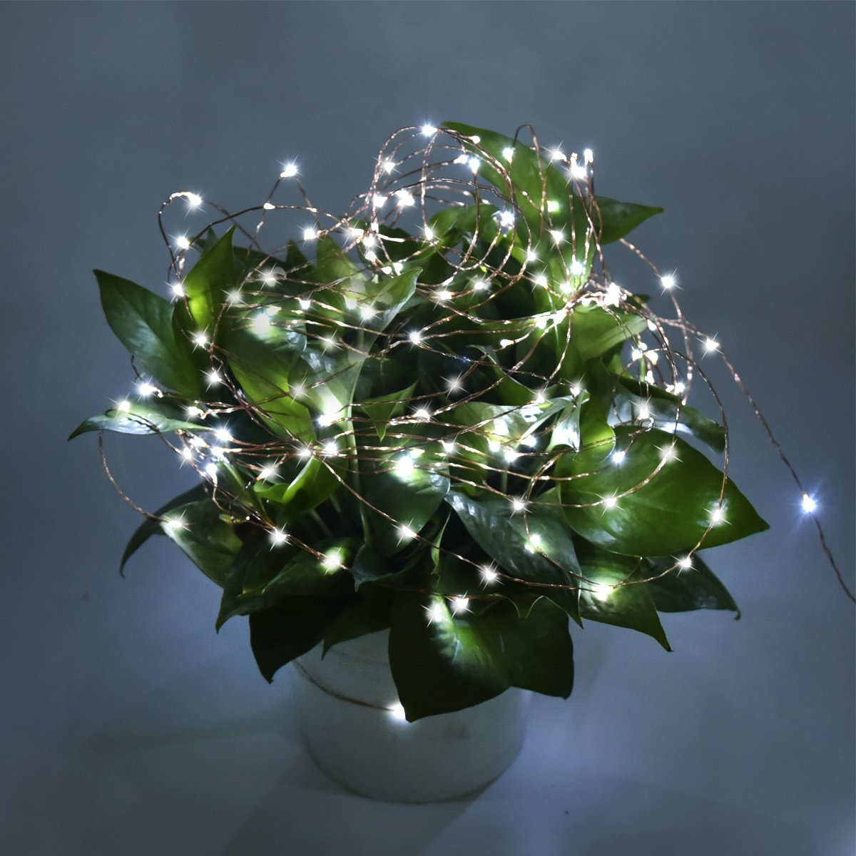 Solarmks 150 LED Bendable Copper Wired Solar Powered Waterproof Starry String Lights with 8 Modes, White