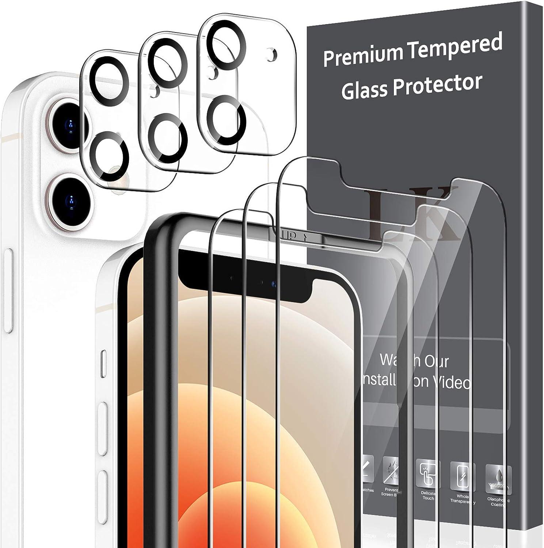 Protecteur /écran LK Compatible avec iPhone 12 6.1 Pouce,3 Pi/èces Verre Tremp/é et 3 Pi/èces Cam/éra Arri/ère Protecteur,Double Protection