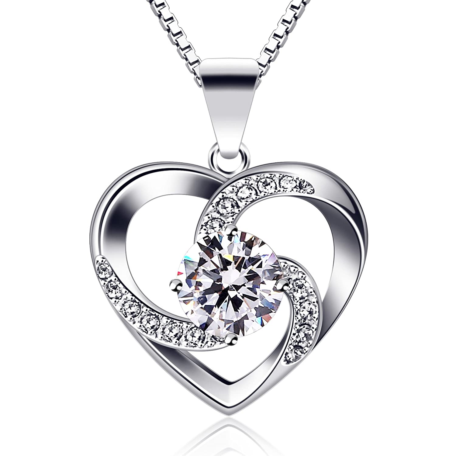 B.Catcher Necklace Chain with Love Heart Ladies Pendant, 925 Sterling Silver Box Chain '' Love is The Luck '' Jewelry Zirconia 45CM Chain Length Gift for Women BC-55