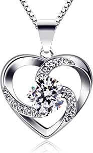 B.Catcher Collar Mujer corazón Plata 925 Colgante ''Amor a Primera Vista'' con San Valentín Regalo Originales Cadena 45cm Longitud