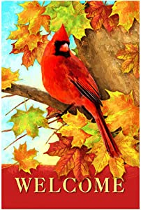 Morigins Welcome Fall Cardinal Double Sided Autumn Maple Leaves Garden Flag 12.5x18 inch