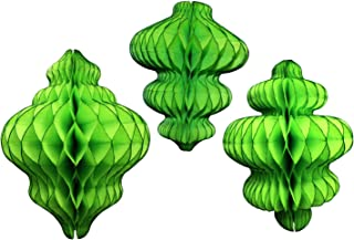 product image for Set of 3 Lime Green Honeycomb Tissue Paper Hanging Ornament Decorations (11 inch, 10 inch, 8 inch)